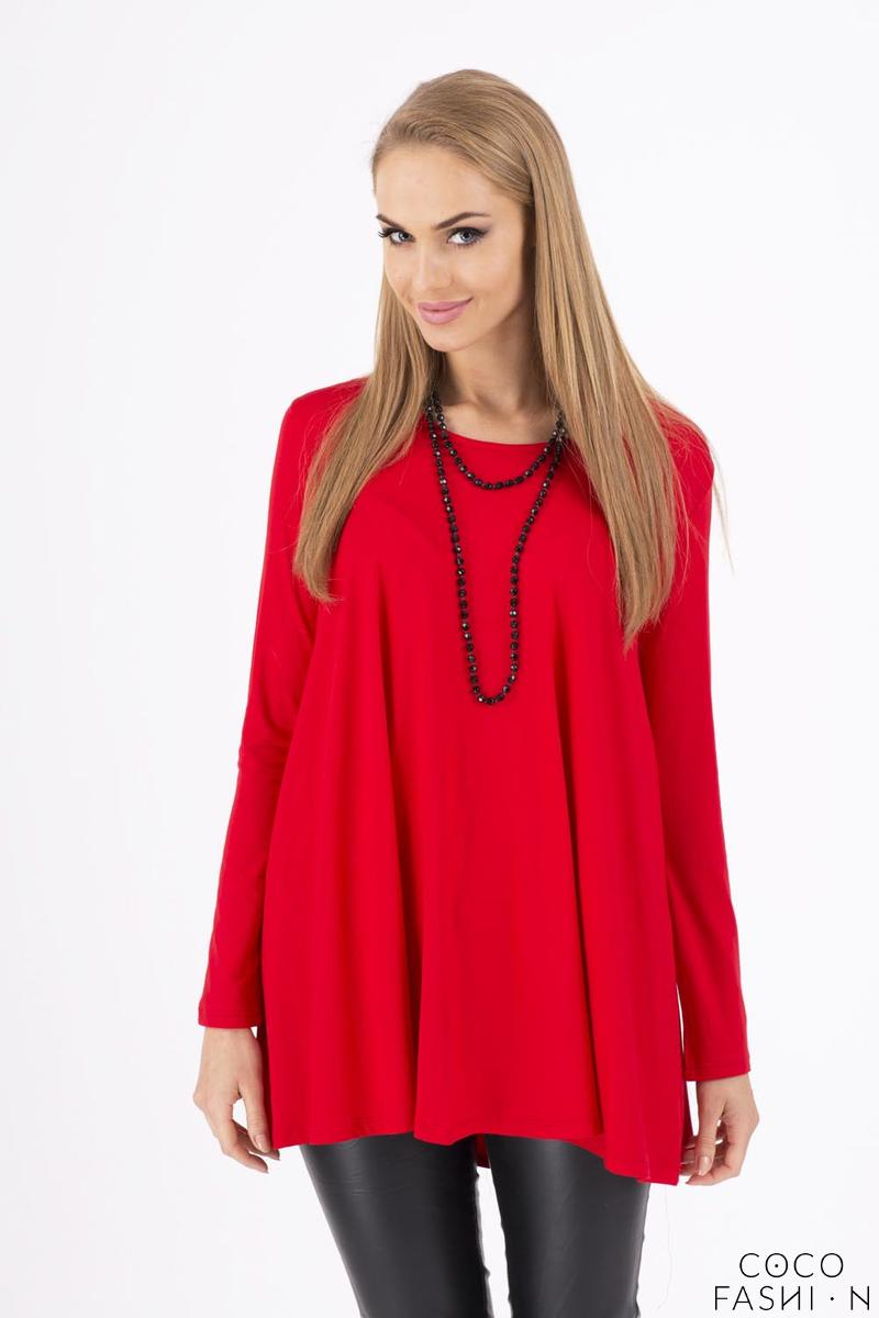 Red Long Sleeves Oversized Loose Blouse