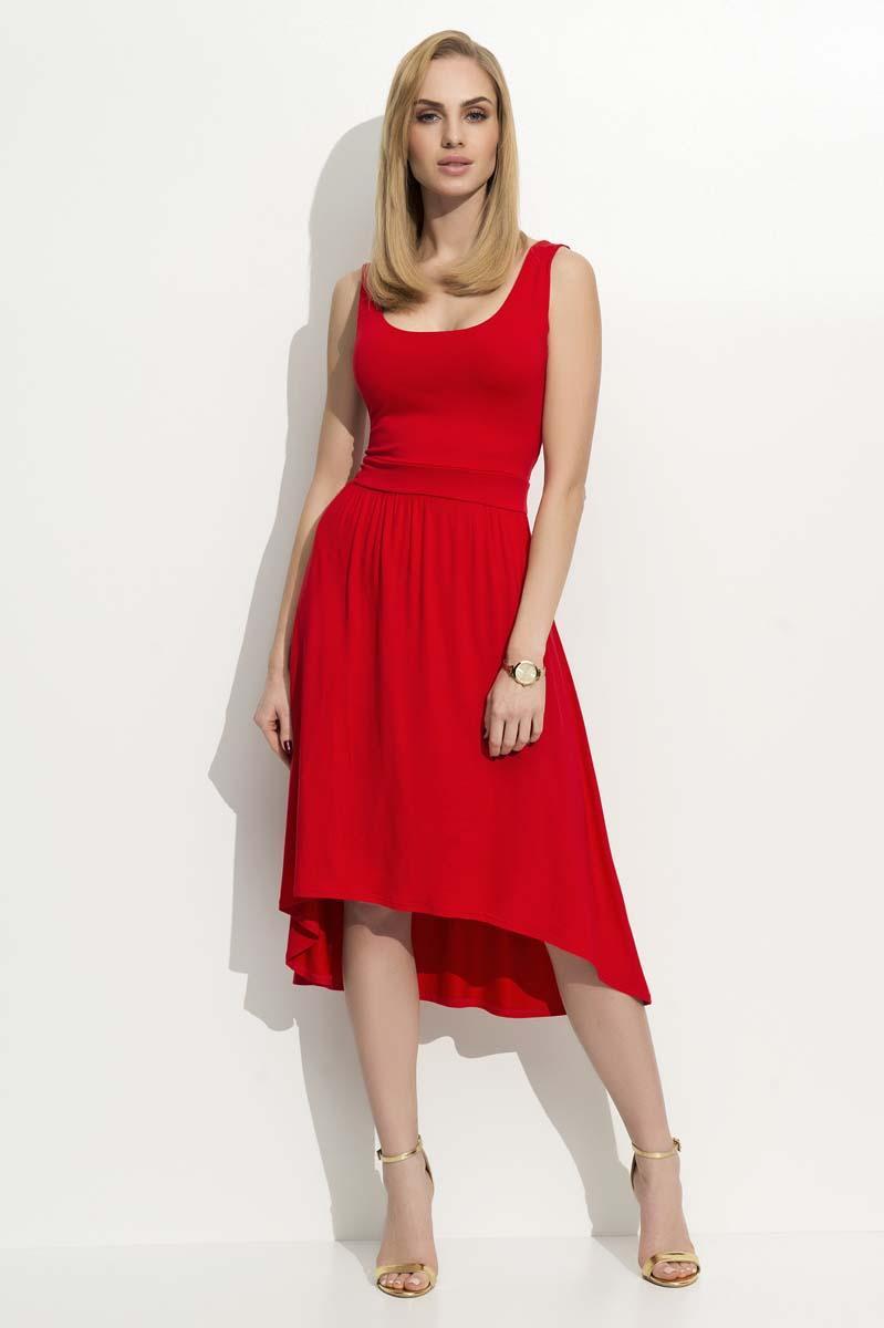 red-round-neckline-asymetrical-dress