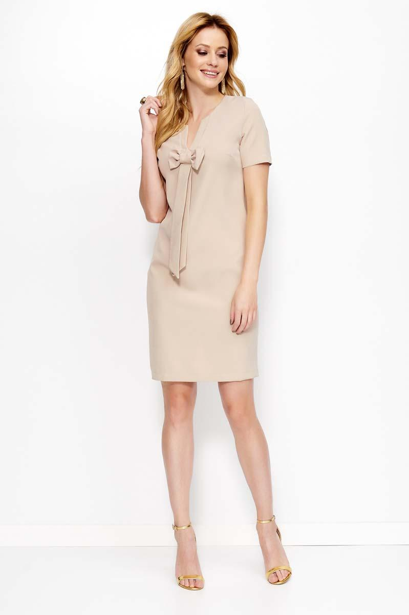 Beige Mini Dress with Bow