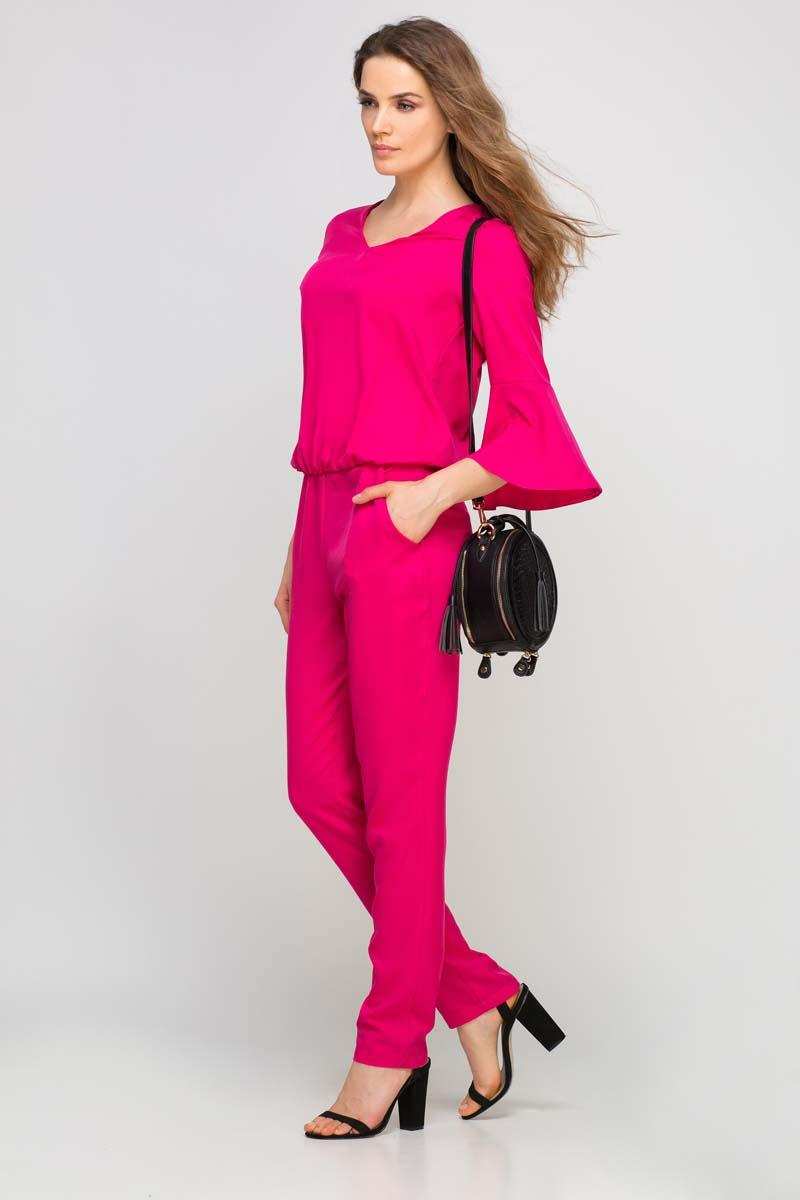 Fuchsia Elegant Jumpsuit with Flared Cuffs