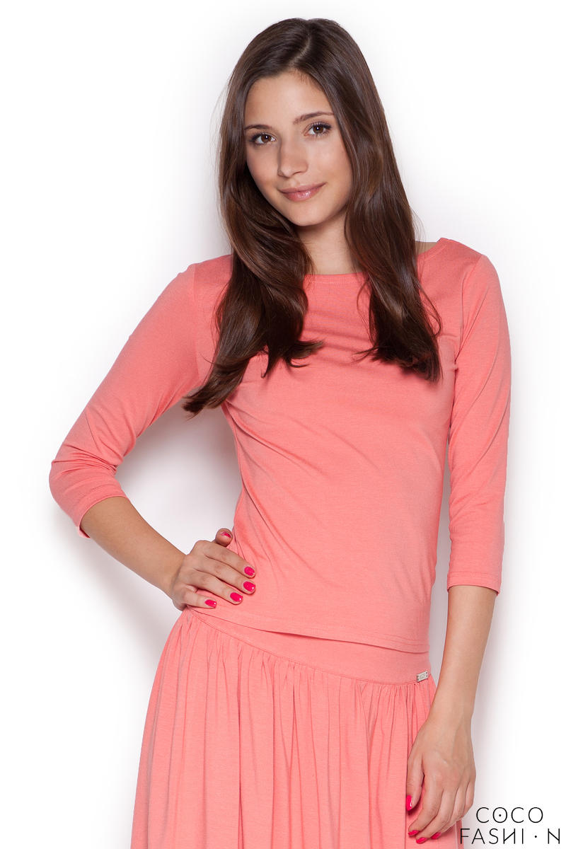 Pink Bateau Neck Flecked Blouse with 3/4 Sleeves