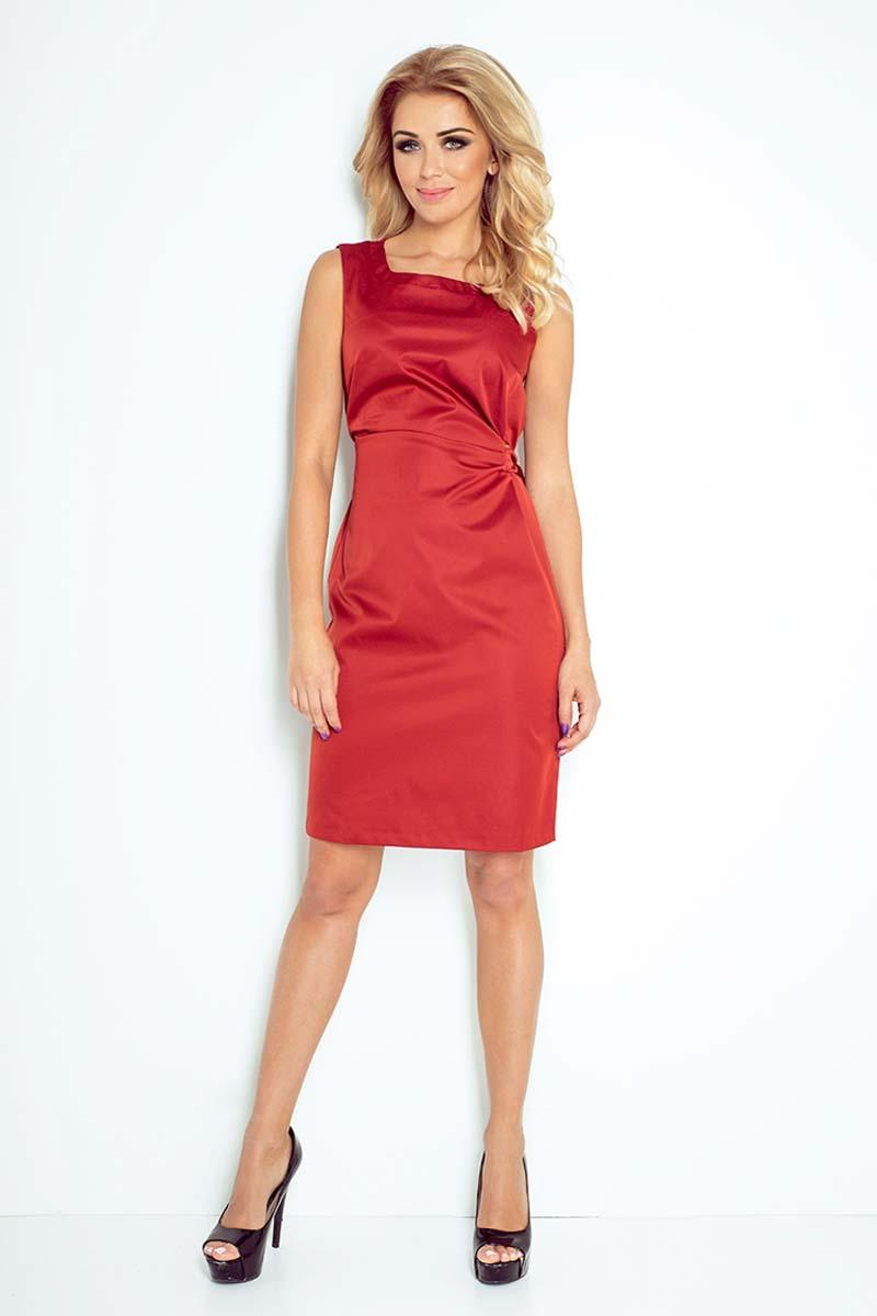Copper Red Simple Coctail Dress with Sash at The Back