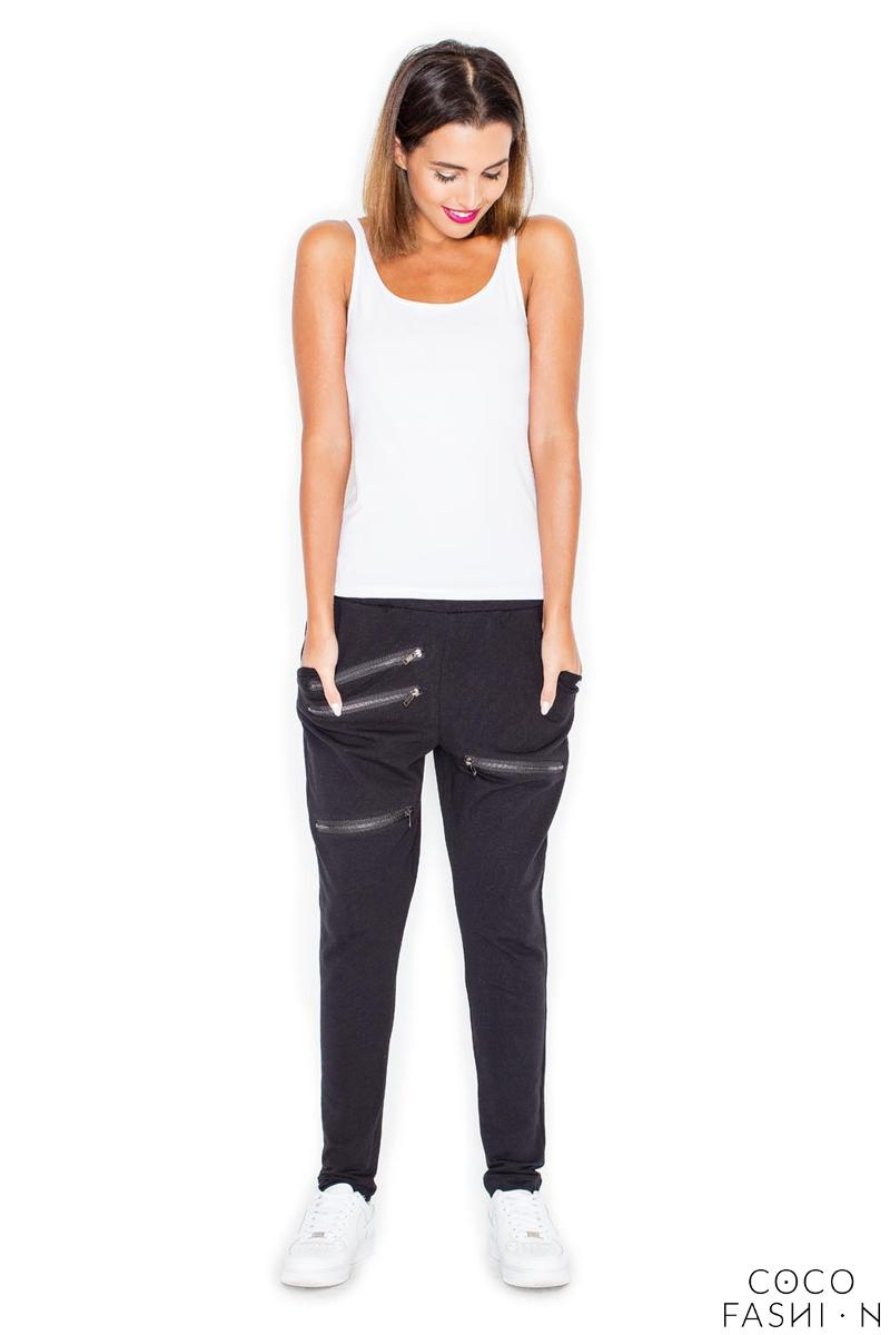 Black Casual Jogger Pants with Zippers