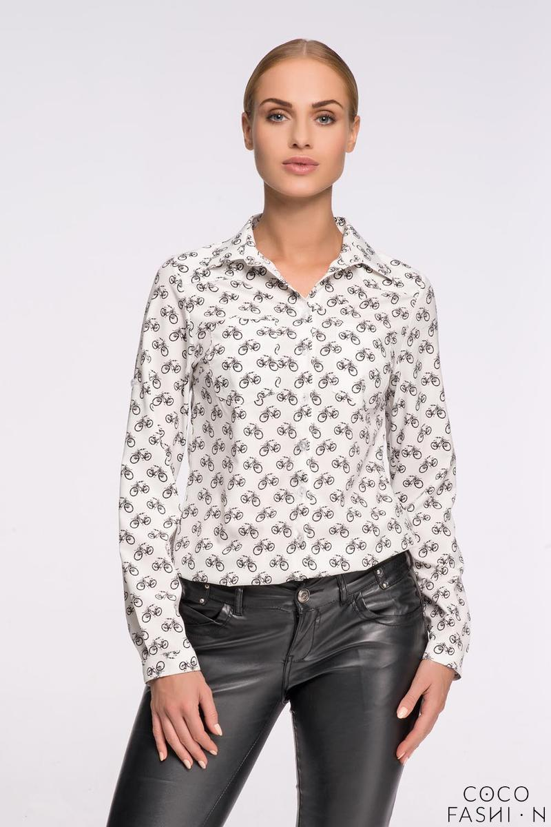 White Casual Ladies Shirt with Bikes Pattern от cocofashion