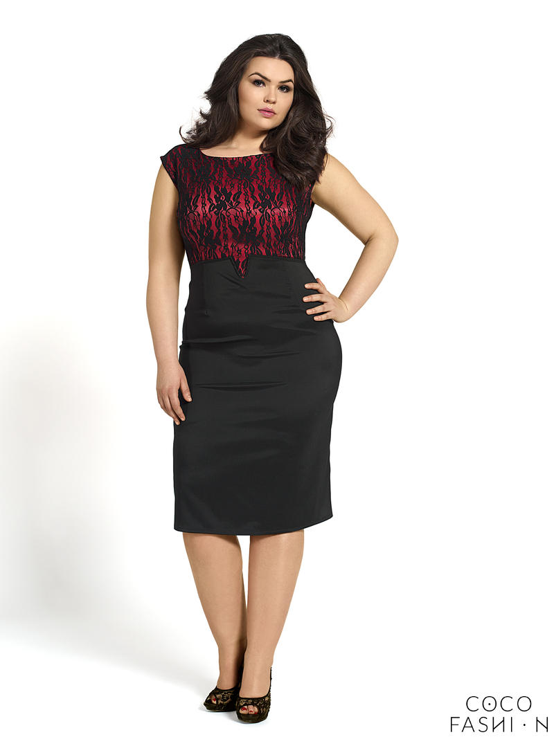 Red Evening Dress With Lace - Holiday Dresses