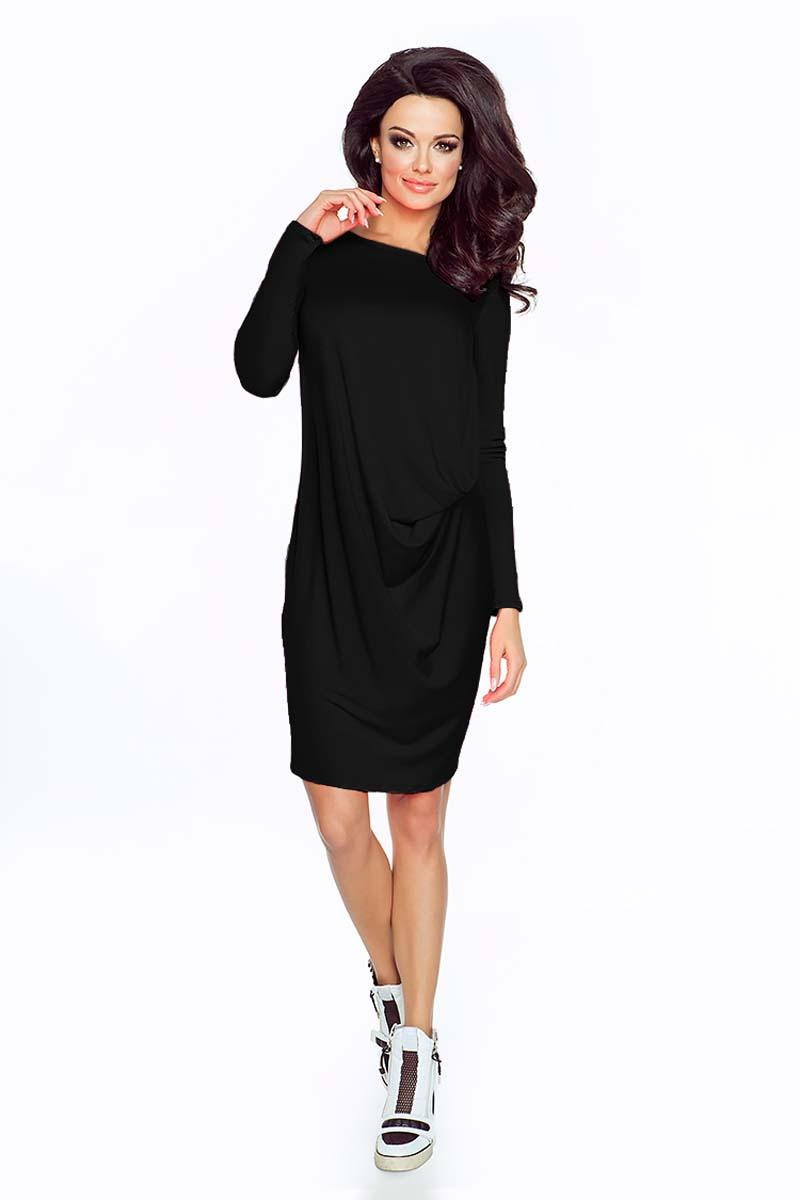 Black Casual Wrapped Long Sleeves Dress