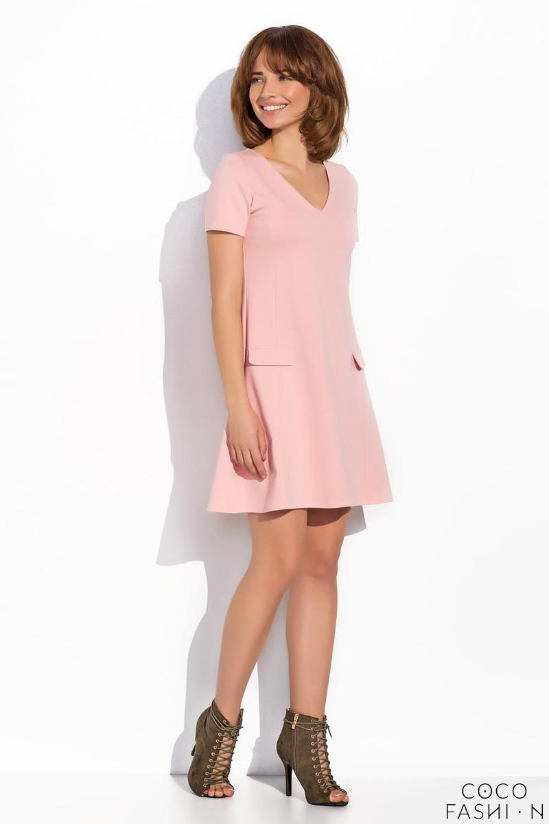 Pink Flared V-Neckline Short Sleeves Dress
