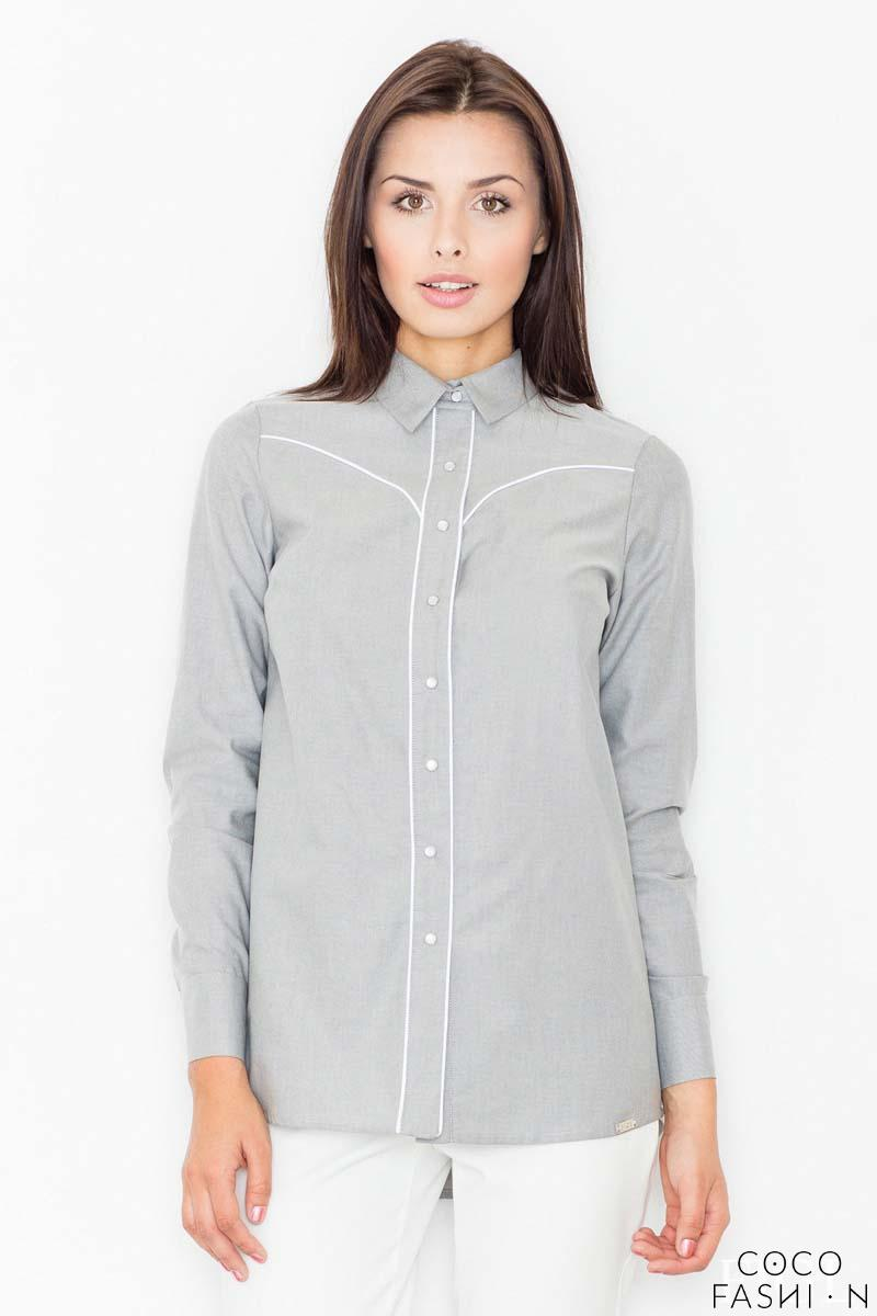 Grey Long Sleeved Shirt with Piping