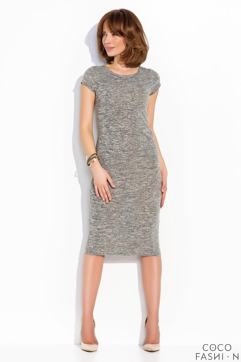 Grey Classic Simple Short Sleeves Midi Dress