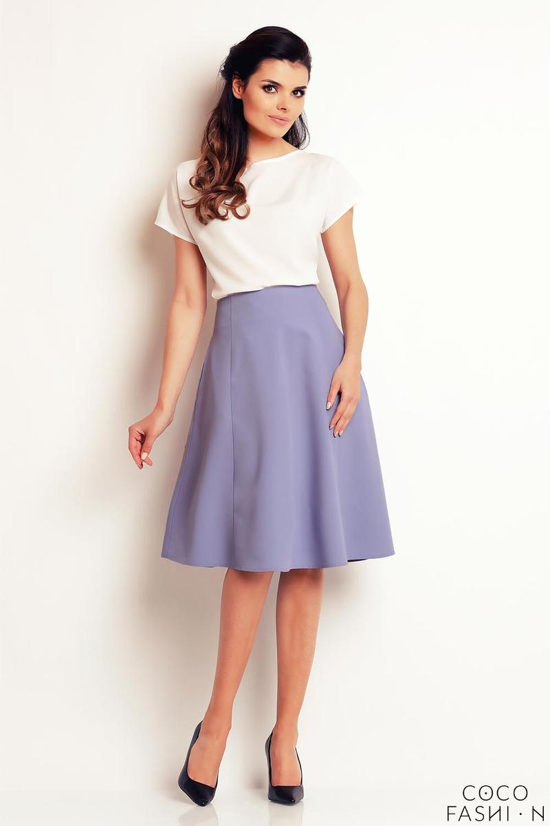 Light Blue Side Pockets Flared Midi Skirt