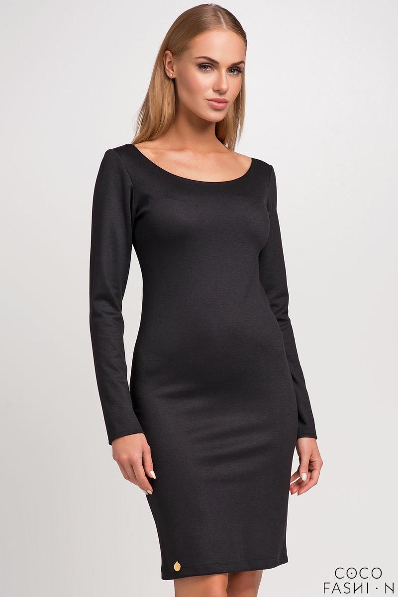 Black Classic Plain Long Sleeves Dress