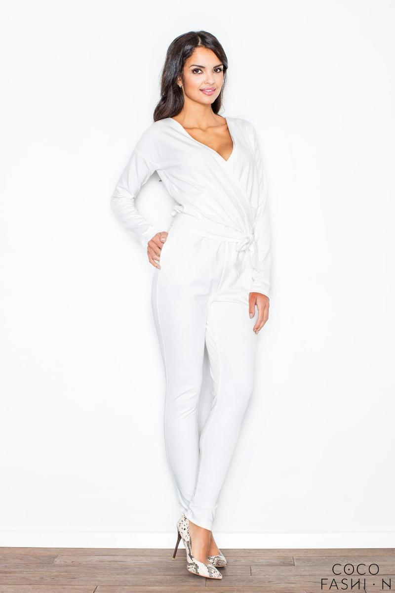Ecru Stylish Ladies Belted Jumpsuit