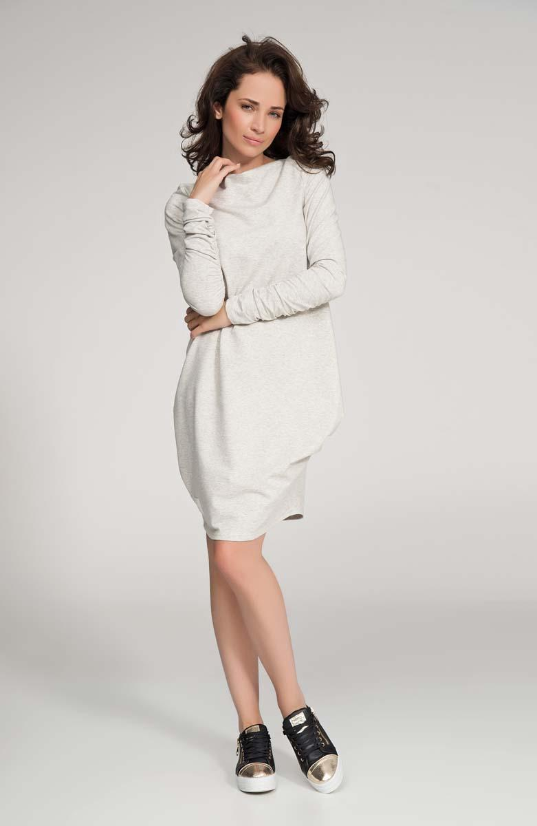 Beige Long Sleeved Casual Dress