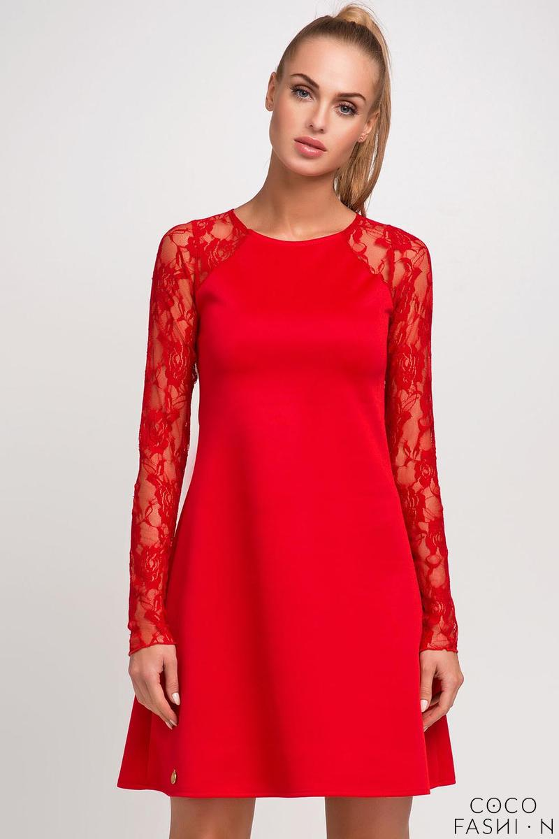 Red Lace Sleeves Flared Stylish Mini Dress