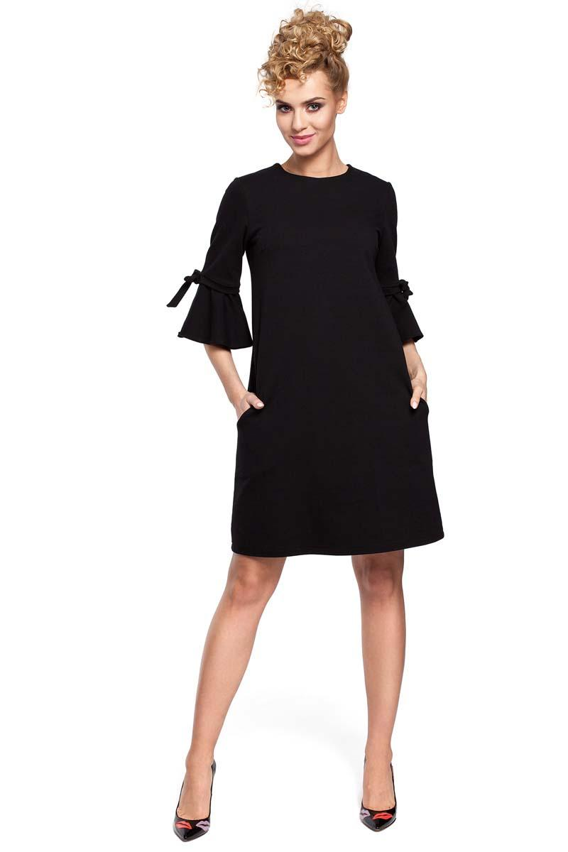 Black Flared Dress with Bow on The Sleeves
