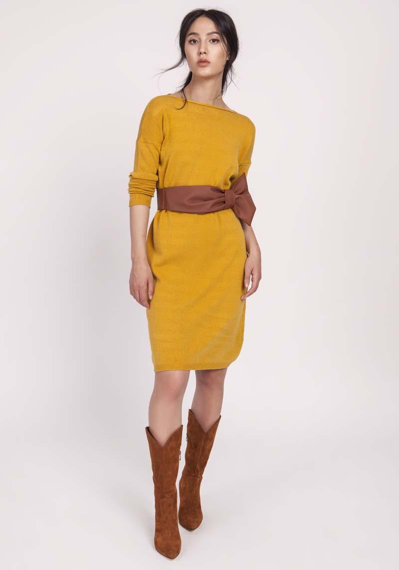 Mustard Simple Knitted Dress