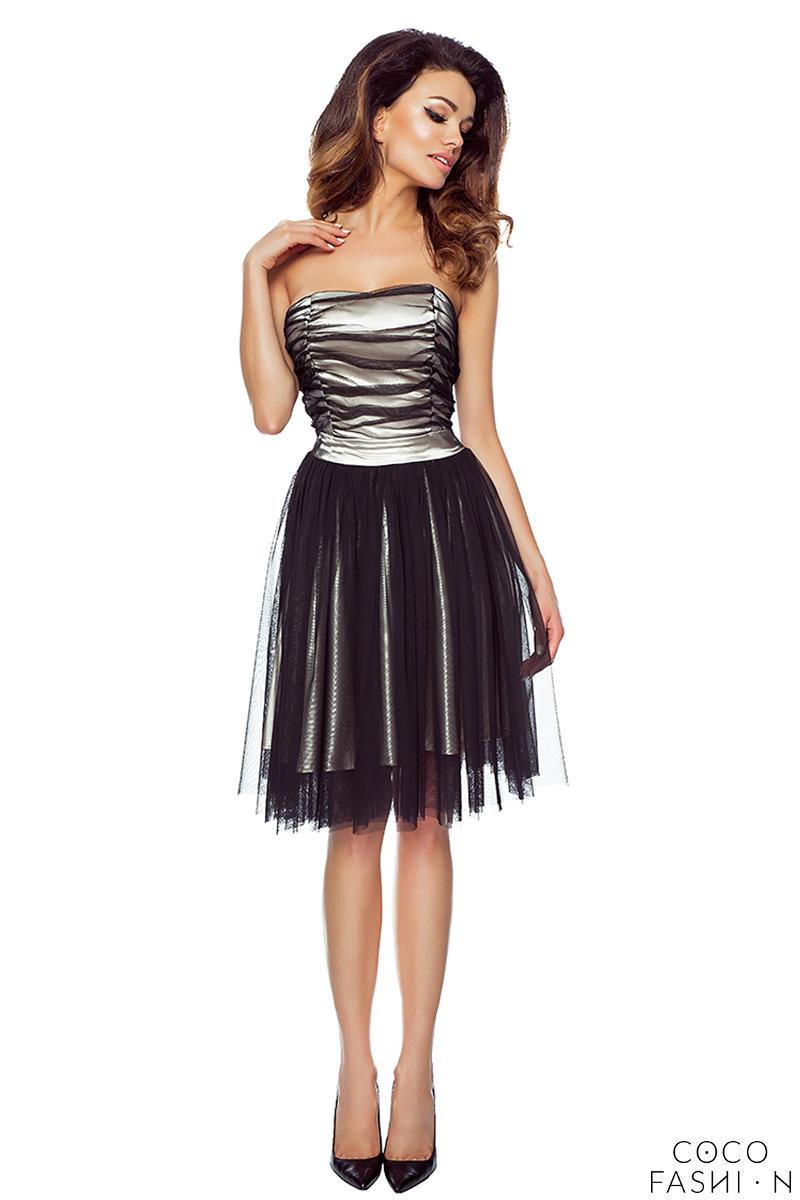 beige-black-bandeau-prom-tulle-dress
