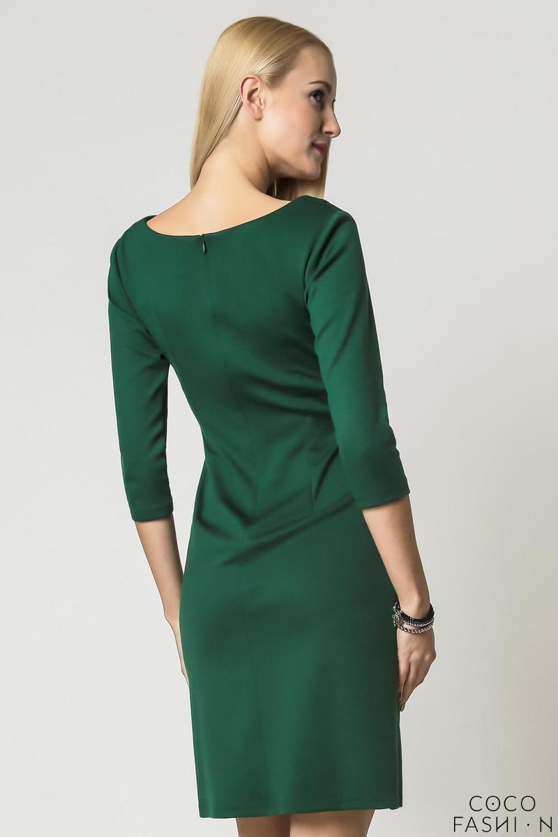 green elegant eco leather black waist office dress