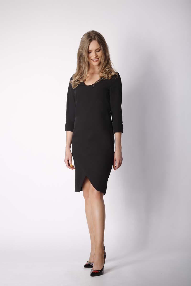 Black Classic Straight Dress with Asymmetrical Zipper