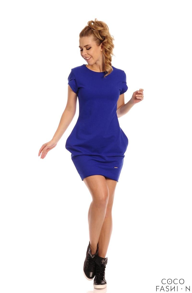Blue Casual Mini Dress with Pockets and Round Neck
