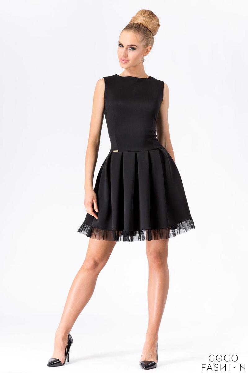 Black Party Prom Mini Dress with Tulle Frill от cocofashion