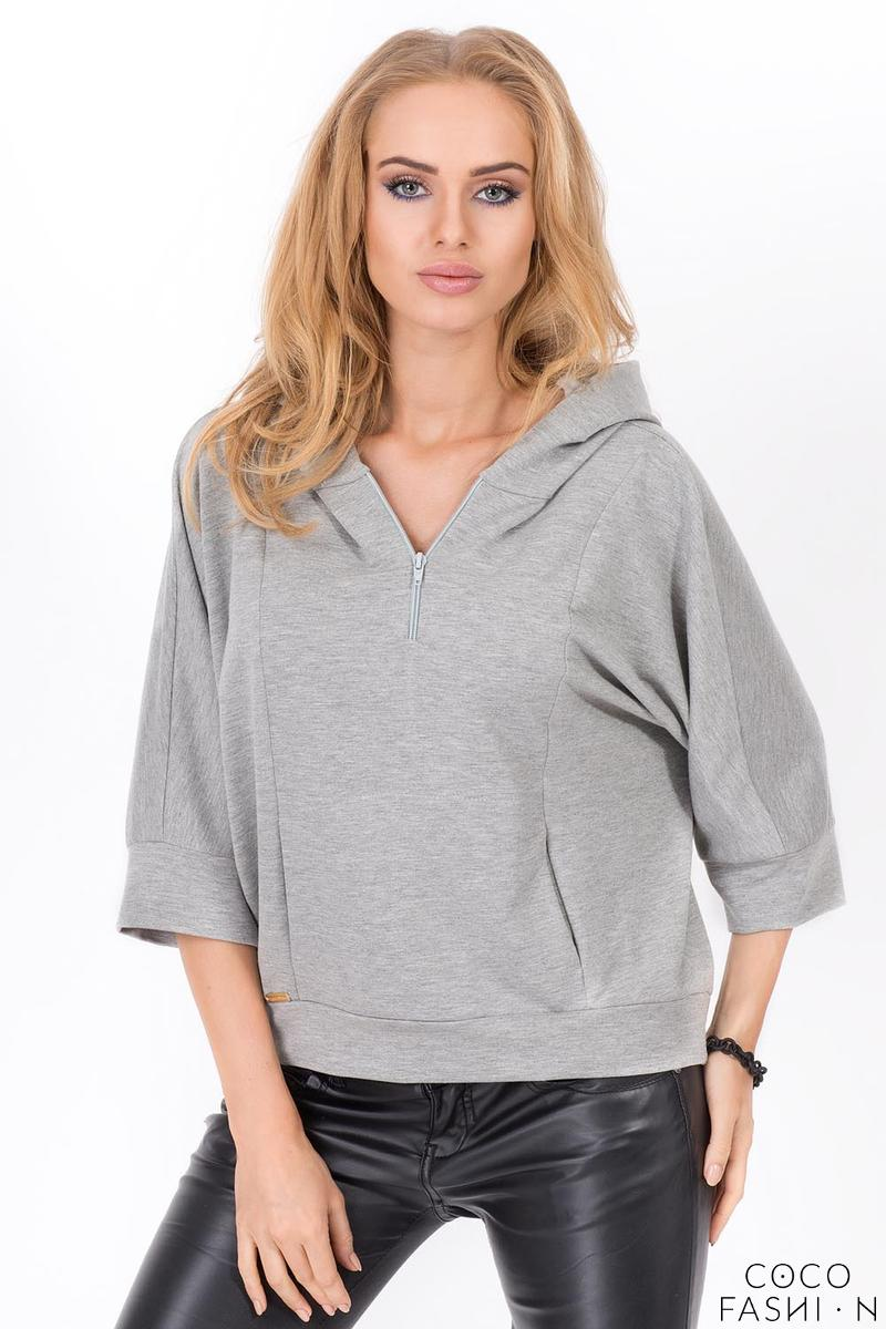 Grey Zipper 3/4 Sleeves Short Hoodie от cocofashion