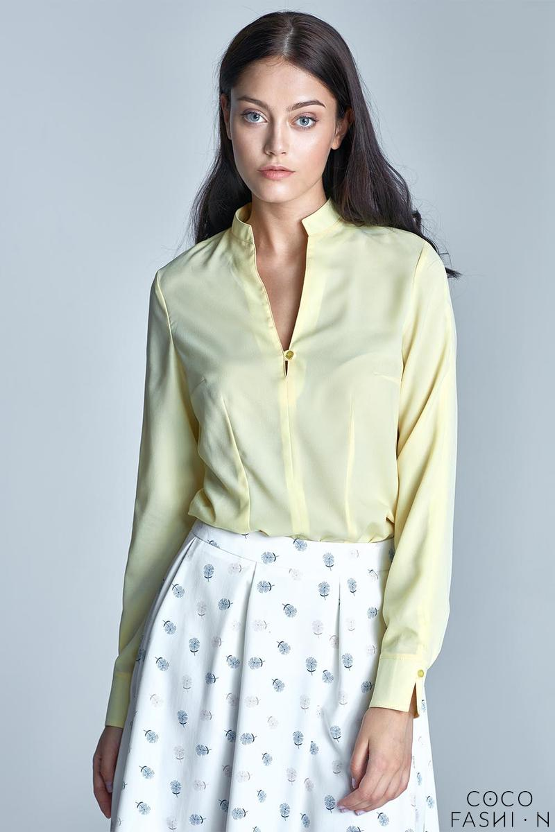 Yellow Long Sleeved Stand-up Collar Shirt