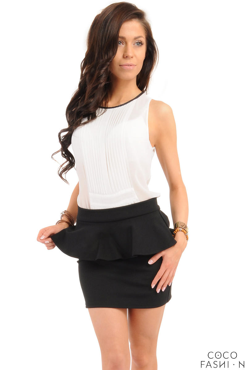 Black Tiered Mini Skirt with Back Gold Zip Fastening