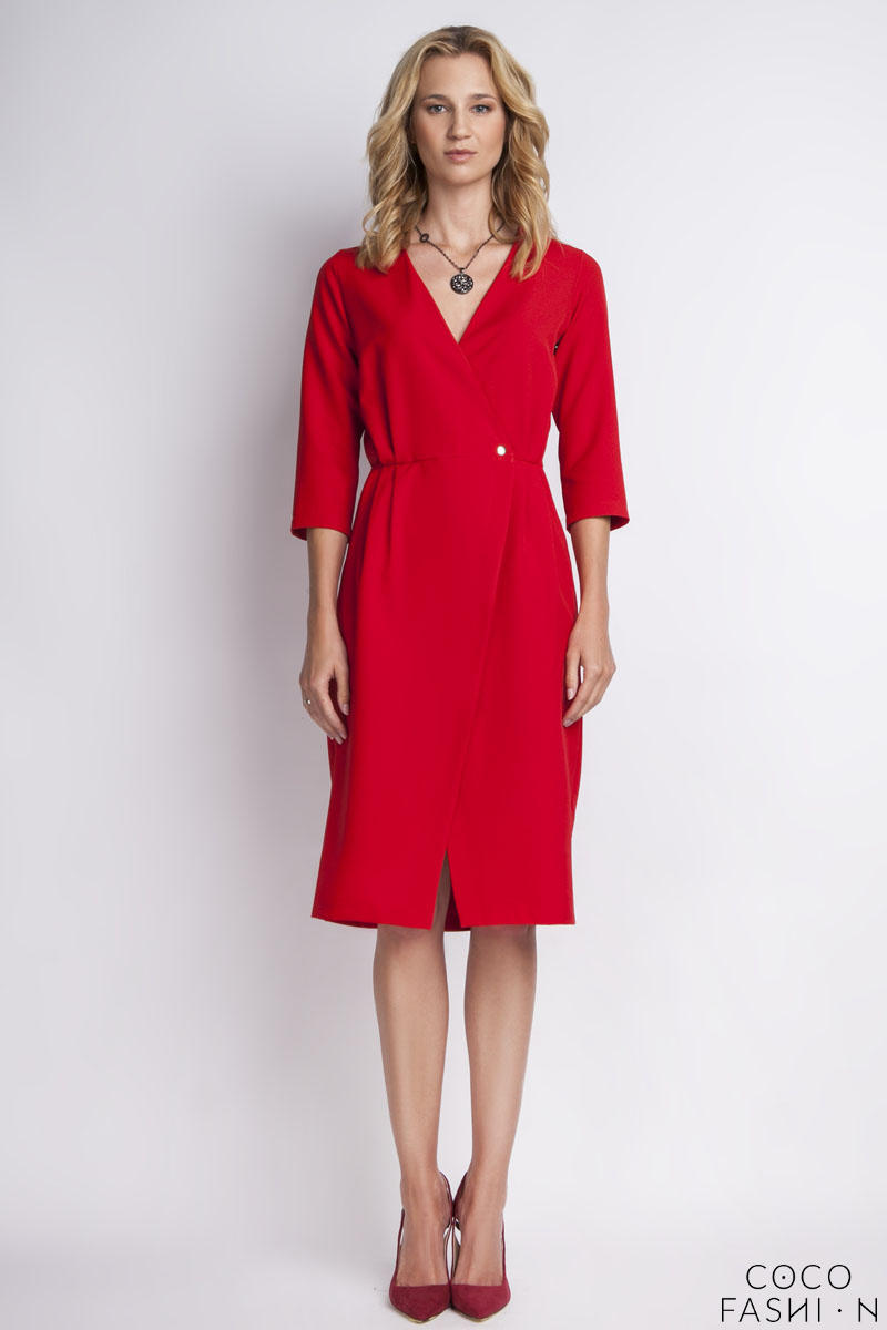 Red Elegant Wrap Neckline Midi Dress