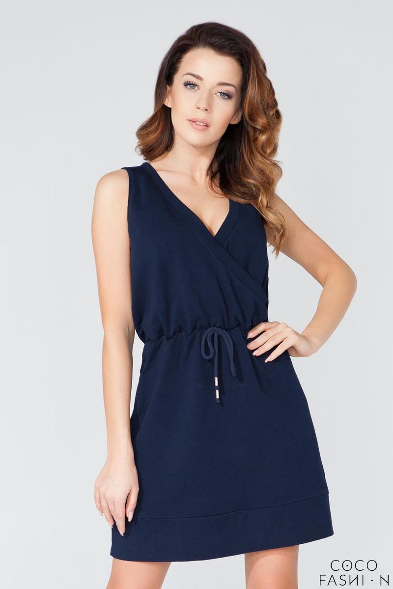 Dark Blue Casual V-Neckline Drawstring Waist Dress