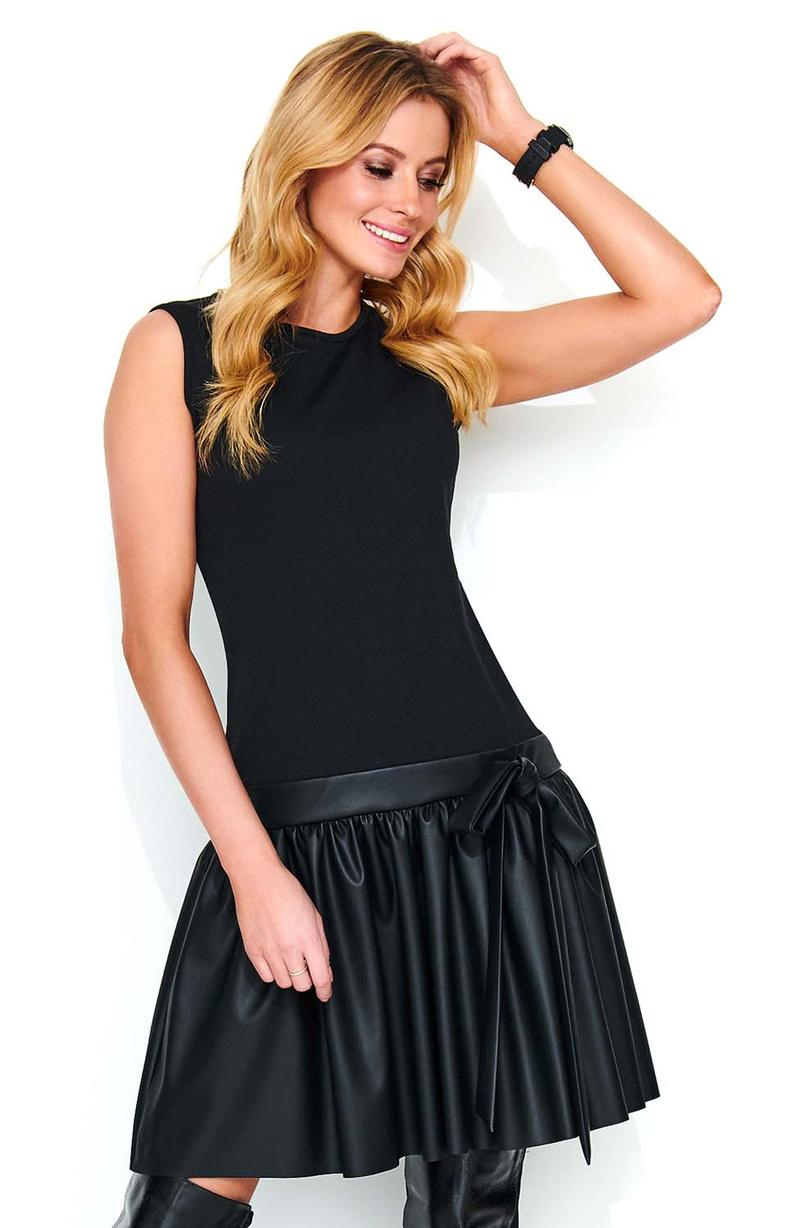 Black Dress with Lowered Waist with a Frill with Eco-Leather