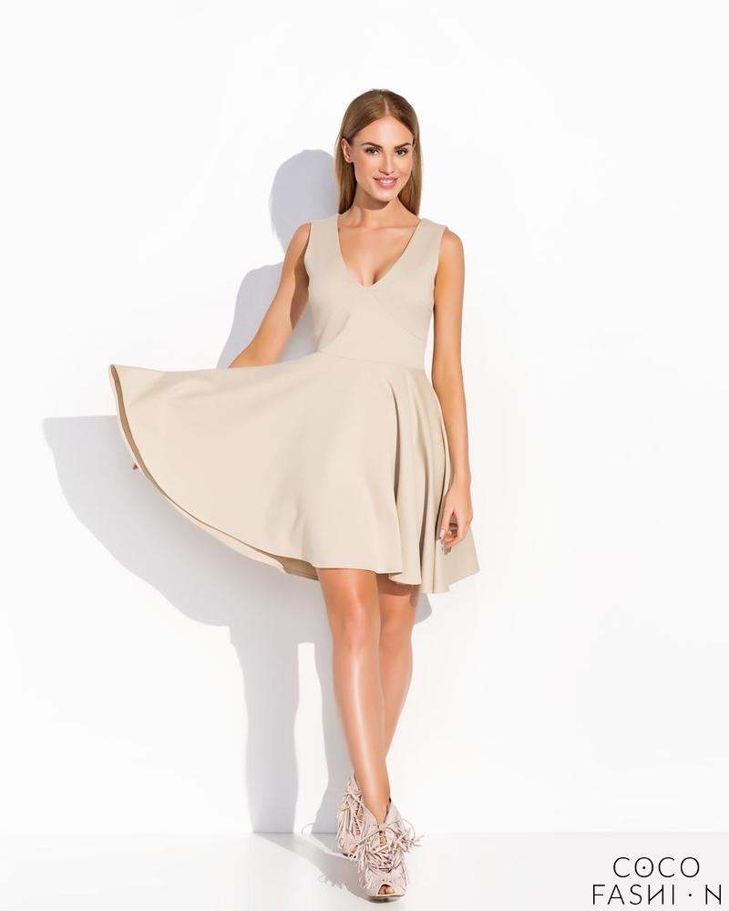Beige Flared Light Pleats Sleeveless Dress