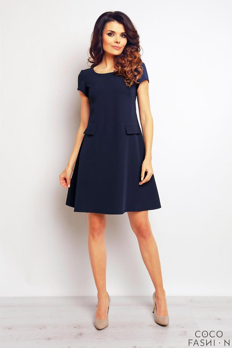 Dark Blue Short Sleeves Flared Dress