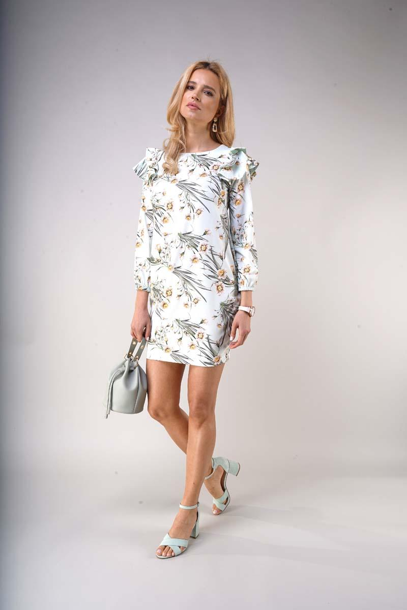 Patterned mini dress with ruffles on the shoulders