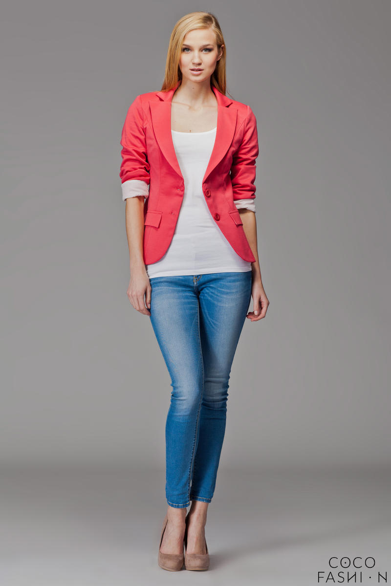 Contrast Sleeves Coral Blazer with Twin Side Flap Pockets