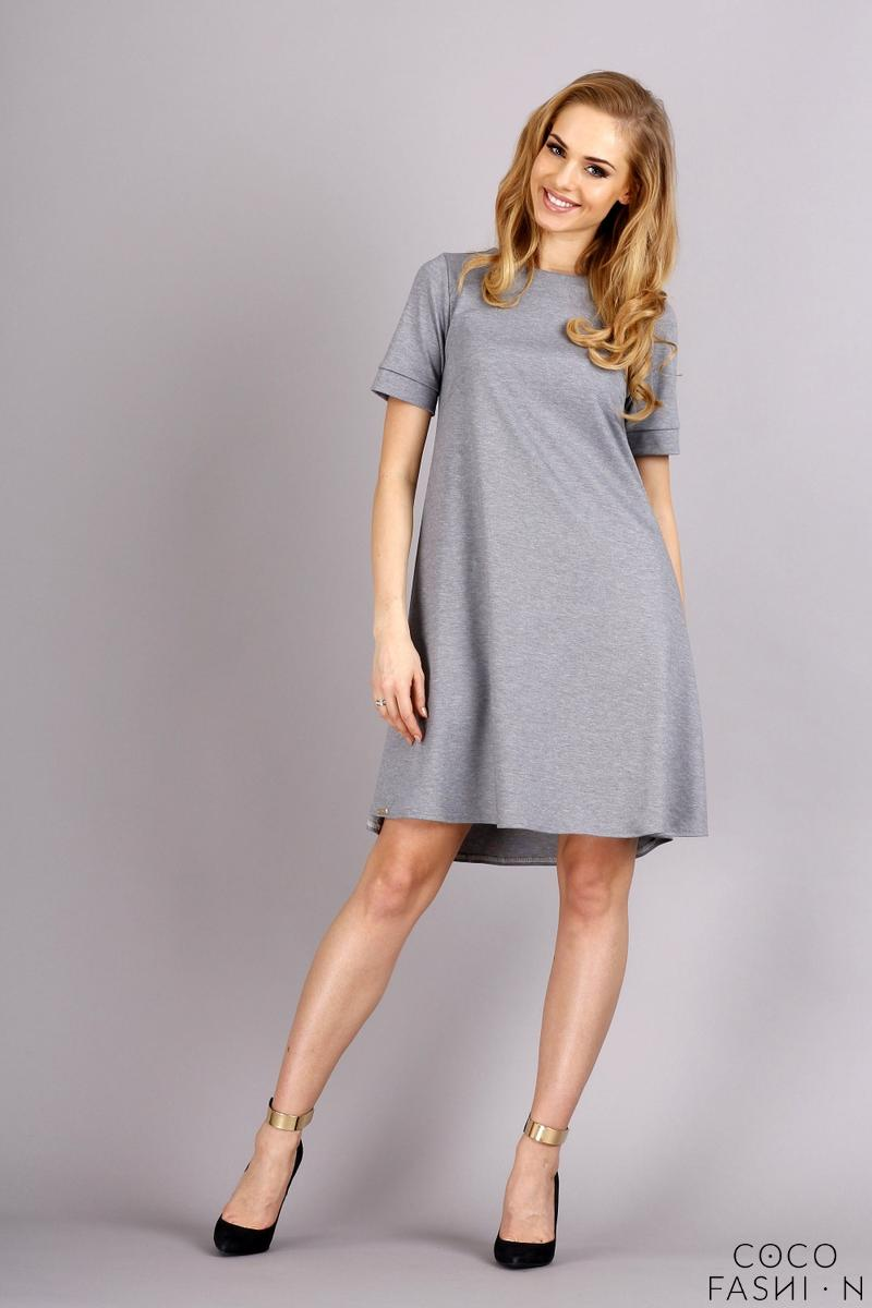 Grey Short Sleeves Flared Knee Lenght Dress