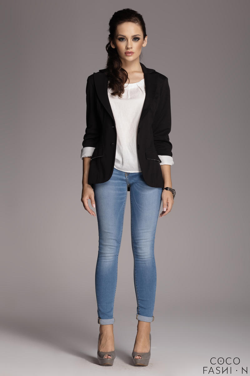 Contrast Sleeves Black Blazer with Twin Side Flap Pockets