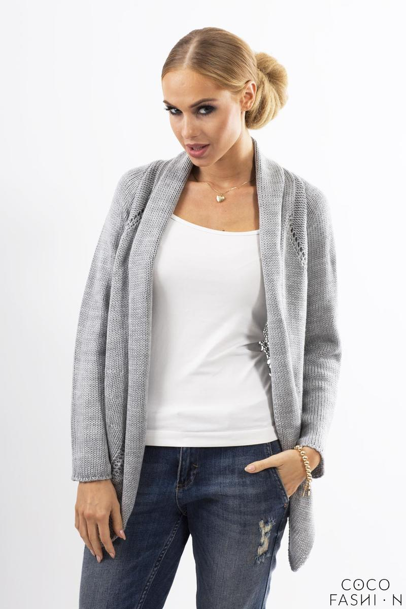 Grey Ajure Cardigan with Asymetrical Lapels