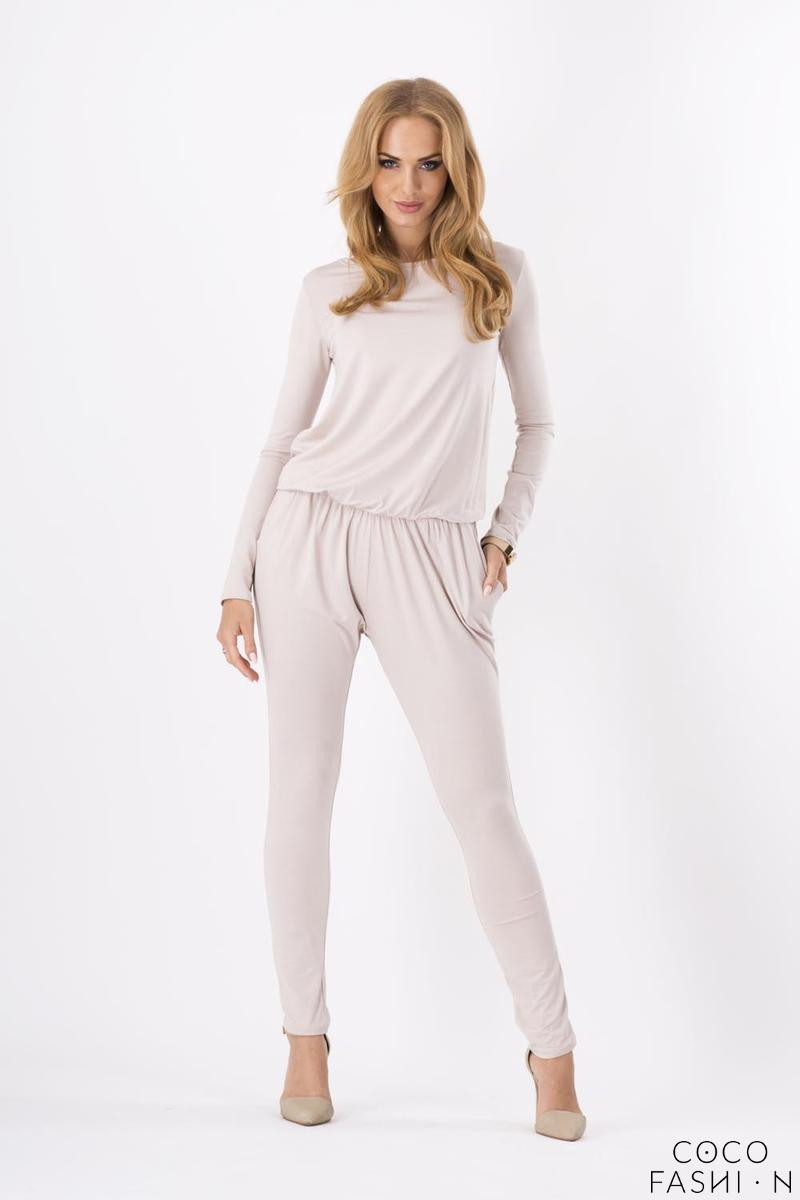 Beige Comfortable Wrinkled Long Sleeves Jumpsuit