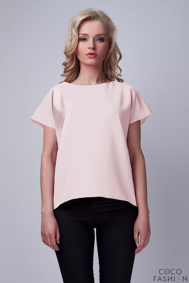 Pink Short Sleeves Blouse with Unique Back