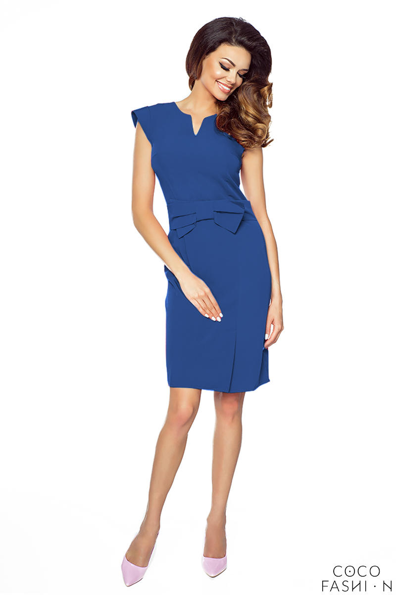 Blue Elegant Bodycon Fit Dress with Bow