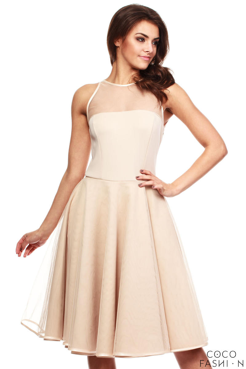 Beige Cheeky Mesh Skater Party Dress