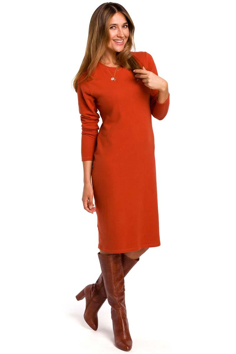 Red Knitted Straight Above Knee Dress