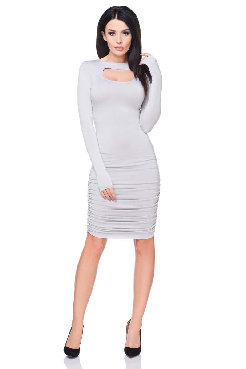 Light Grey Bodycon Wrinkled Midi Dress