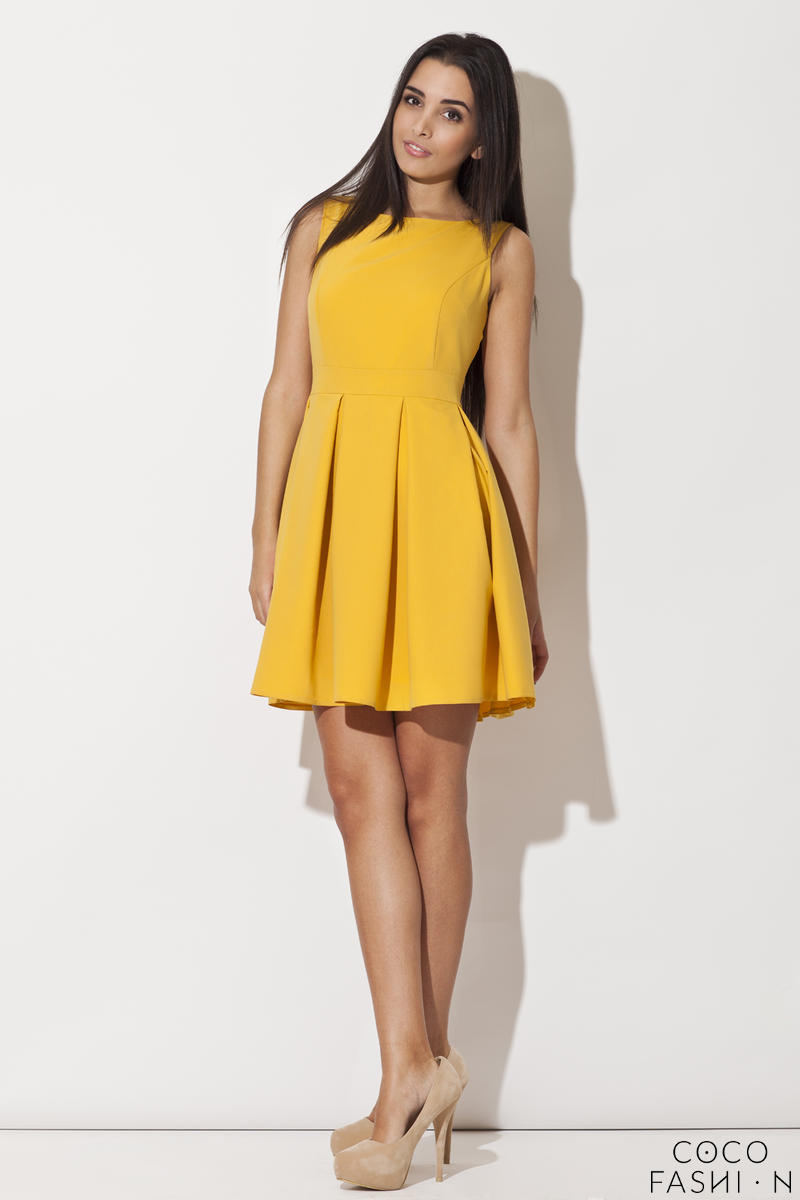 Deep Yellow Bateau Neck Pleated Skirt Dress with Back Zip Fastening