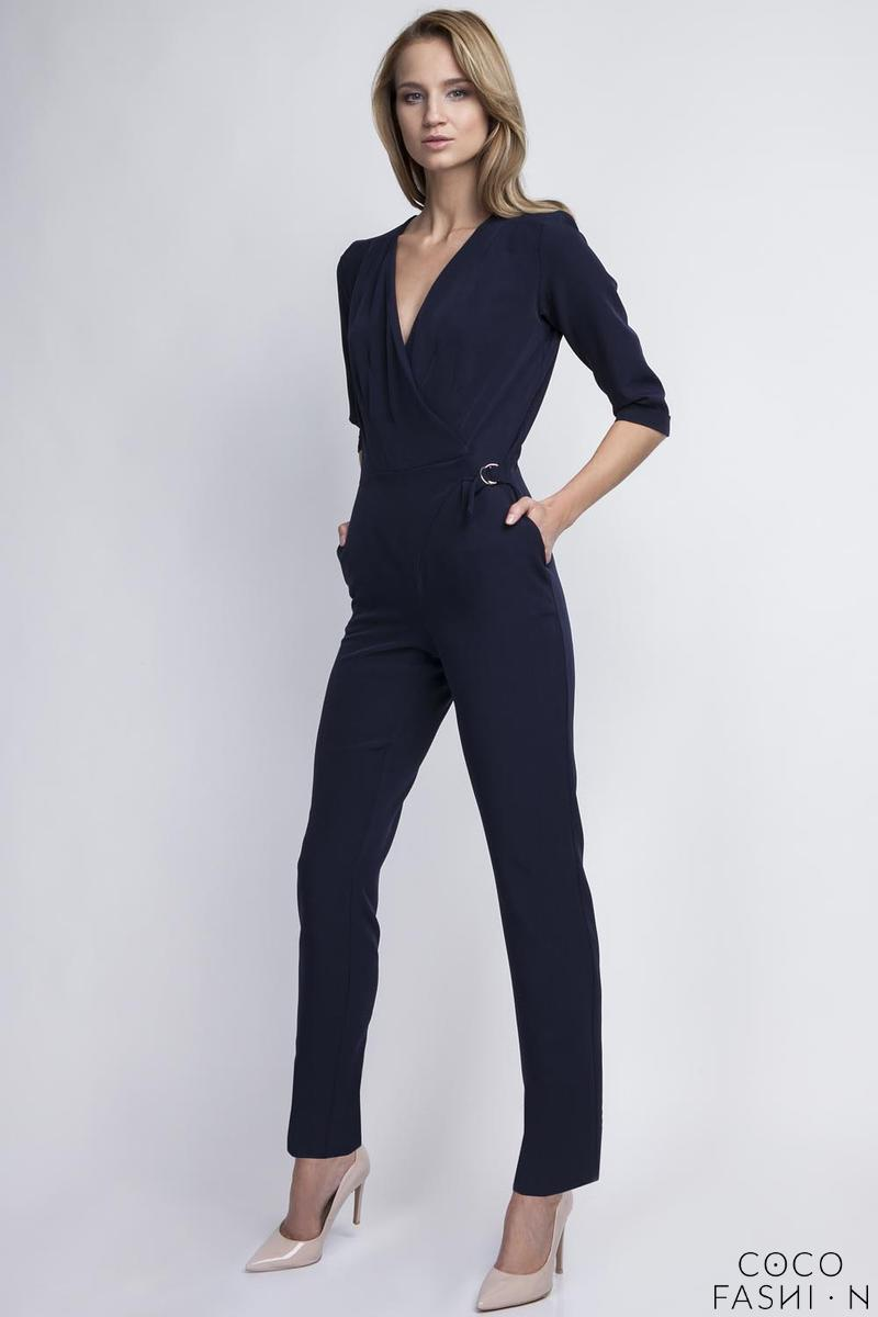 Navy Blue Stylish Ladies V-Neckline Jumpsuit
