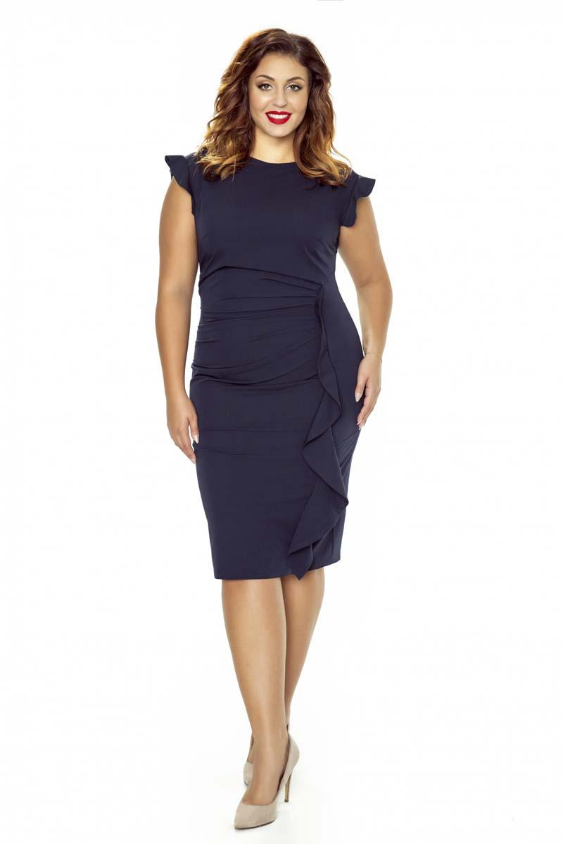 Dark Blue Coctail Dress with Frill PLUS SIZE