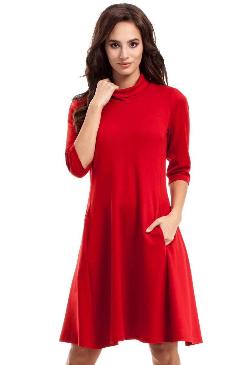 Red Flared Dress with Tourtleneck
