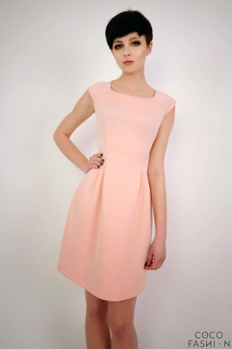 Pink Caro Neckline Patterned Mini Dress от cocofashion