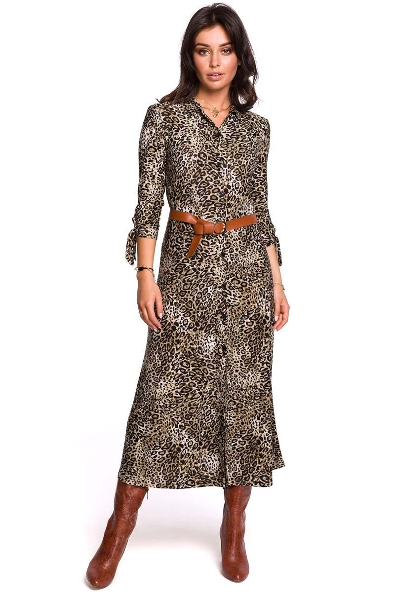 Patterned Midi Dress Buttoned Model 2
